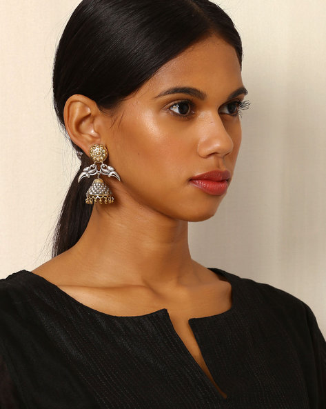 Two-Toned Peacock Brass Jhumkas By Indie Picks ( Silvergold )