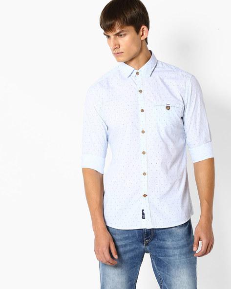 Micro-Print Slim Fit Shirt By NETPLAY ( Blue )