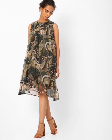 Printed Trapeze Dress By Vajor ( Green )