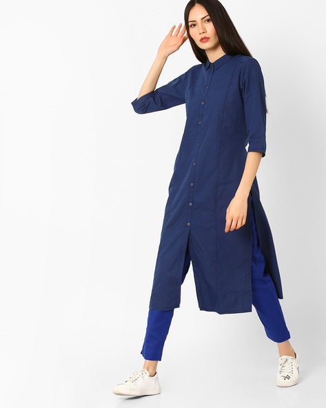 Straight Kurta With Button Placket By AURELIA ( Blue )