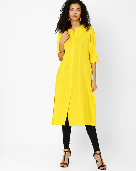 Cotton Dress With Front Button Placket By Khimsariya ( Yellow )