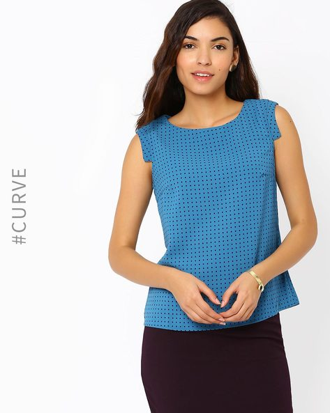Printed Top With Cap Sleeves By AJIO ( Teal )