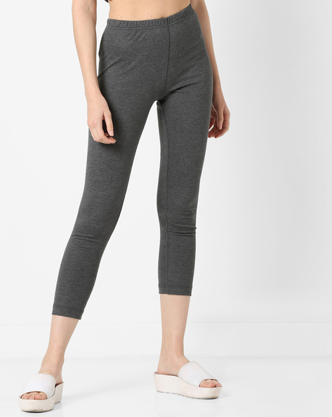 Cropped Thermal Leggings By Jockey ( Charcoal )