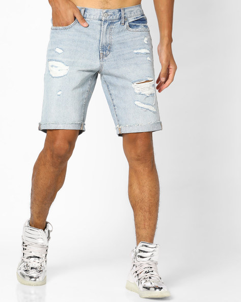 Lightly Washed Distressed Denim Shorts By Aeropostale ( Blue )