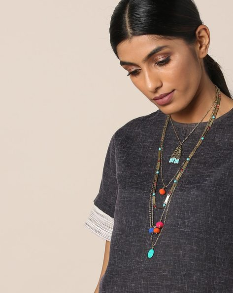 Beaded Layered Long Necklace By Indie Picks ( Multi )