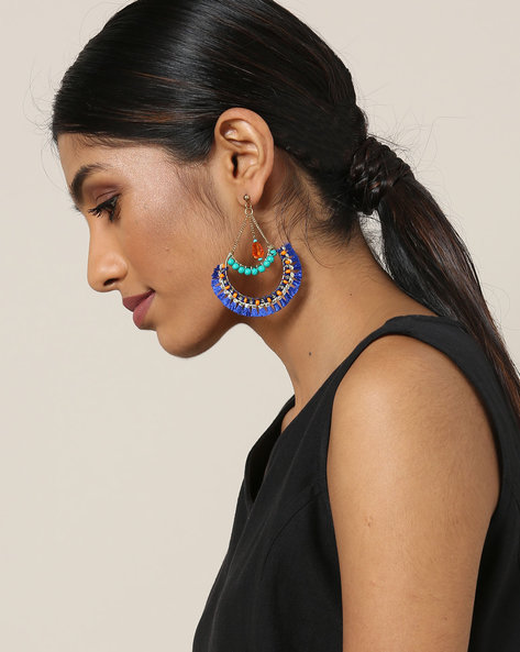 Beaded Metal Drop Earrings With Tassels By Indie Picks ( Blue )