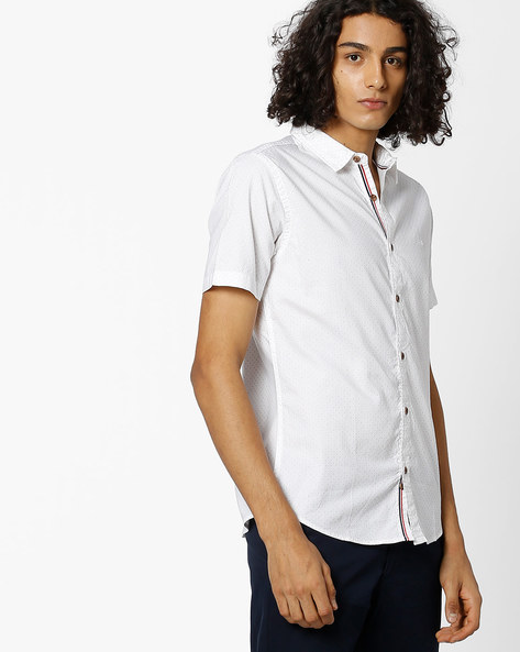 Polka-Dot Print Shirt By UNITED COLORS OF BENETTON ( Offwhite )