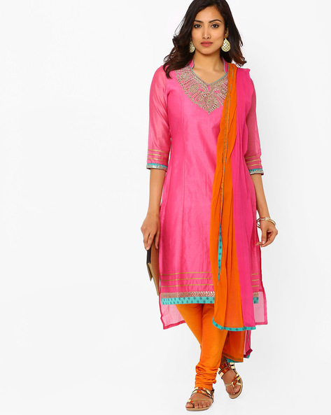 Kurta Suit Set With Embroidery By AJIO ( Orange )