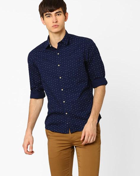 Printed Slim Fit Shirt By JOHN PLAYERS ( Blue ) - 440735698003