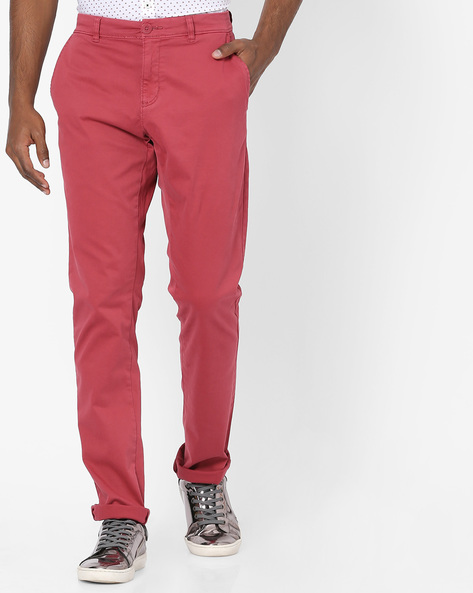 Mid-Rise Flat-Front Chinos By Teamspirit ( Red )