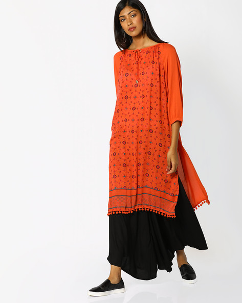 Printed Kurta With Tie-Up By Melange By Lifestyle ( Coral )