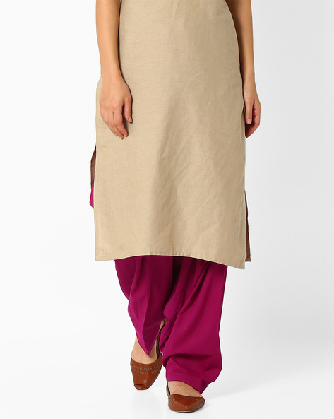 Patiala Pants With Drawstring Fastening By Stylenmart ( Purple )