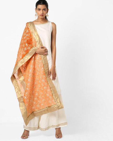 Floral Pattern Dupatta With Contrast Borders By Dupatta Bazaar ( Orange )
