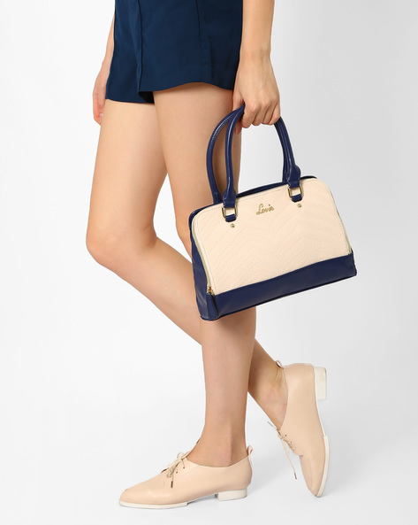 Textured Handbag With Short Handles By Lavie ( Navyblue )