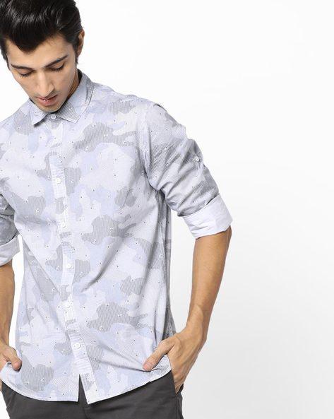 Printed Slim Fit Shirt By AJIO ( Blue )