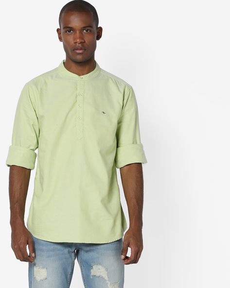 Slim Fit Shirt With Mandarin Collar By SPYKAR ( Multi )