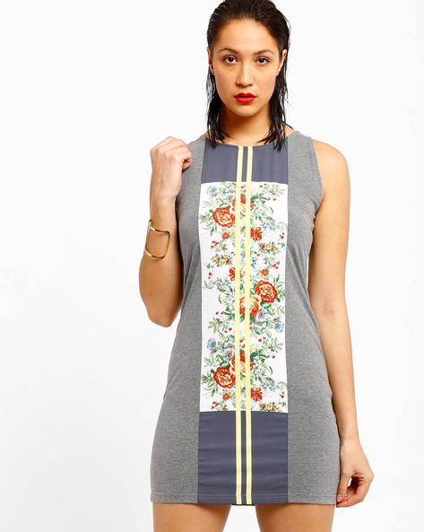 Floral Print Bodycon Dress By AJIO ( Grey )