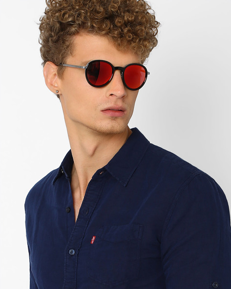 Mirrored Round Sunglasses By Joe Black ( Red )