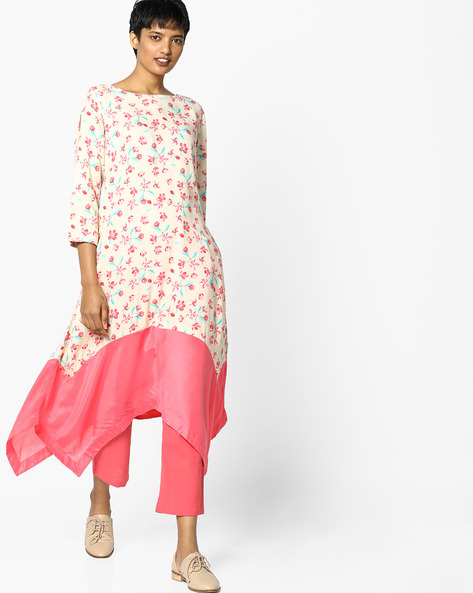 Floral Print Kurta With Panelled Asymmetrical Hem By PE IW Casual ( Fuchsia )
