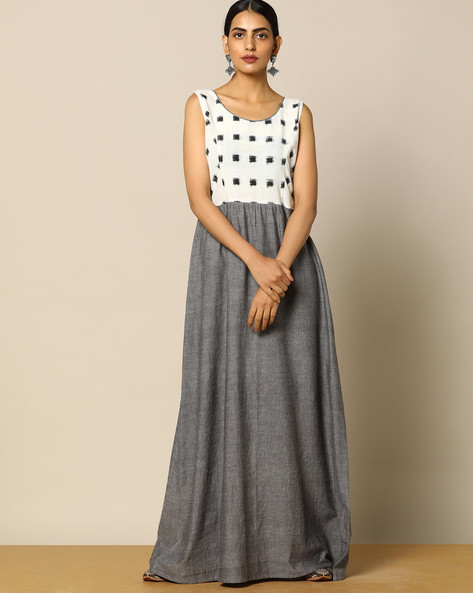 Cotton & Ikat Handloom Sleeveless Maxi Dress By Pilgrim ( Multi )