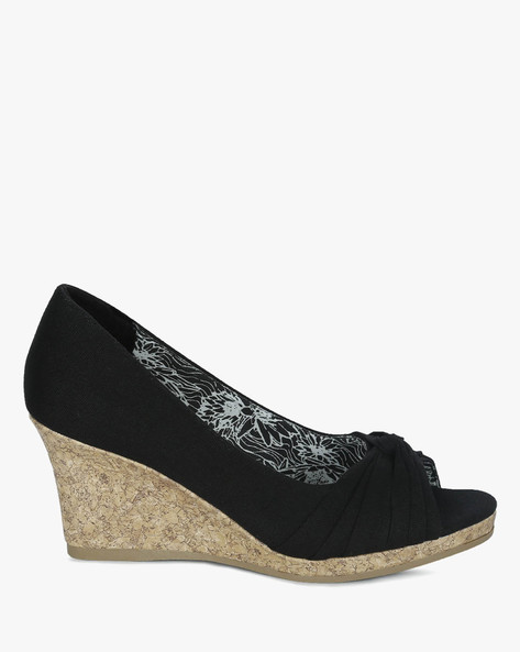 Peep-Toe Wedges With Soft Knot By DFX ( Black )