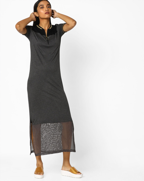 T-shirt Dress With Mesh Panel By AJIO ( Darkgrey )