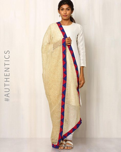 Hand Block Print Kota Dupatta With Patch Work By Indie Picks ( Cream )