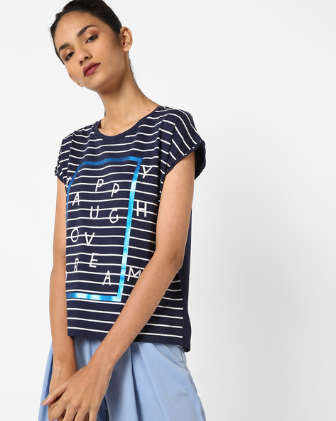 Graphic Print T-Shirt By UNITED COLORS OF BENETTON ( Blue )