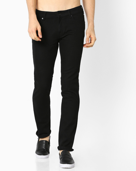 5-Pocket Slim Fit Denims By WRANGLER ( Black )