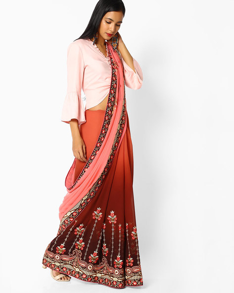 Ombre-Dyed Saree With Floral Embroidery By Majestic Silk ( Maroon )