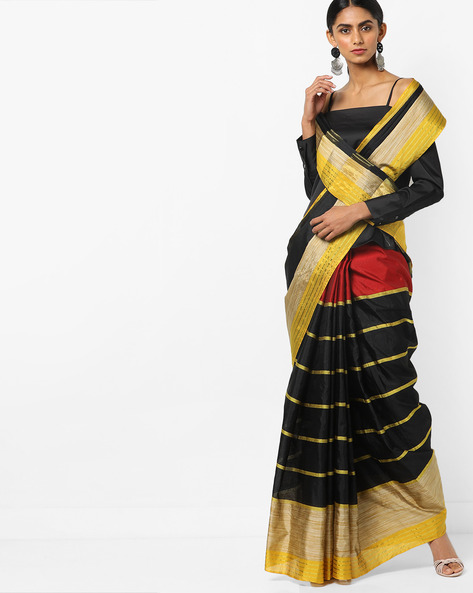 Striped Saree With Contrast Border By Florence ( Black )