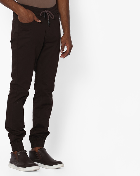 Mid-Rise Jogger Pants With Drawstring Waist By Nature Casuals ( Brown )