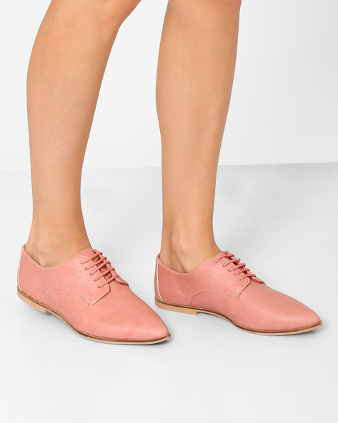 Pointed-Toe Derby Shoes By Inara ( Pink )