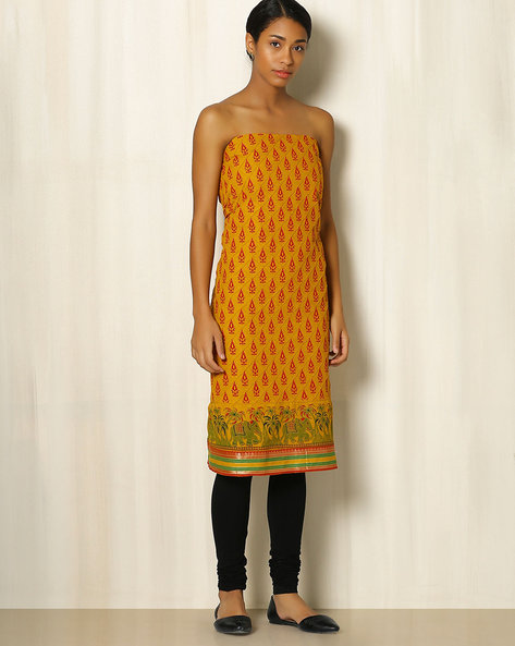 Printed South Cotton Kurta Fabric By Indie Picks ( Yellow )