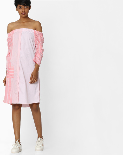 Striped Off-Shoulder Dress By Evah London ( Pink )