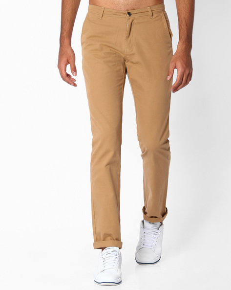 Flat-Front Tapered Fit Dobby Chinos By NETPLAY ( Khaki )