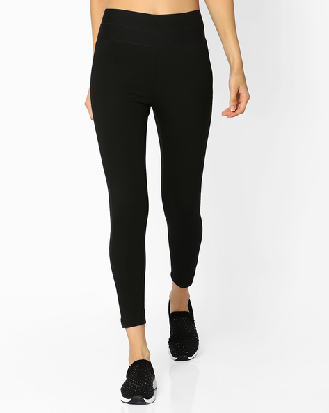 High-Waist Leggings With Side Panels By CODE By Lifestyle ( Black )