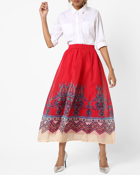 Floral Print A-line Maxi Skirt By Akkriti By Pantaloons ( Red )