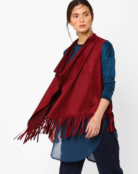 Waterfall Shrug With Fringes By AJIO ( Burgundy )