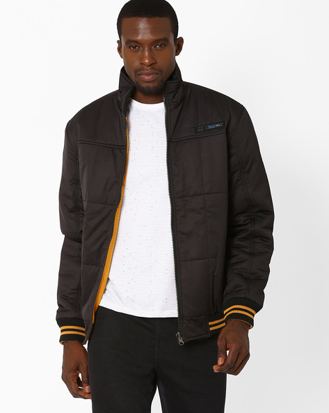 Regular Fit Reversible Quilted Jacket By Fort Collins ( Black )