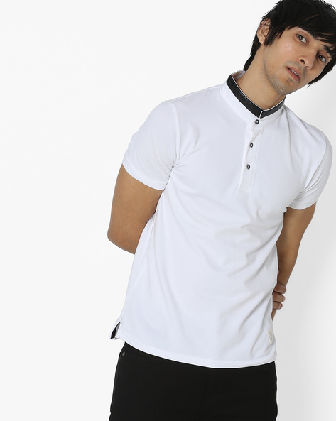 T-shirt With Contrast Band Collar By UNITED COLORS OF BENETTON ( White )