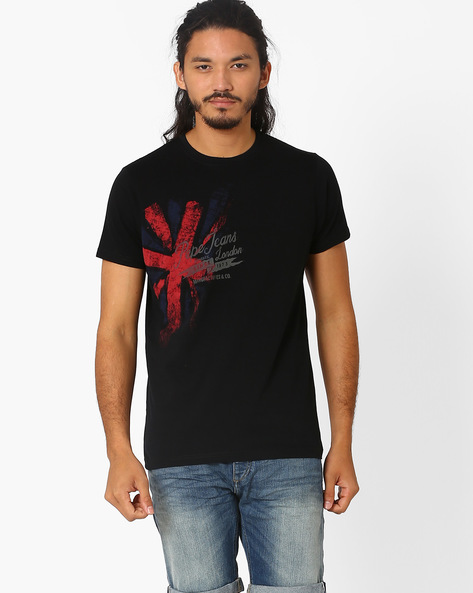 Printed Crew-Neck Slim T-shirt By Pepe Jeans ( Black )