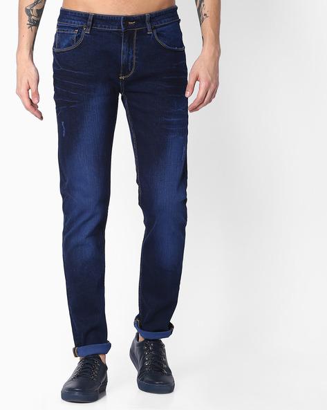 Slim Fit Lightly Washed Jeans By Blue Saint ( Indigo )