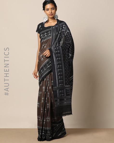 Handloom Warli Design Saura Cotton Saree By Indie Picks ( Brown )