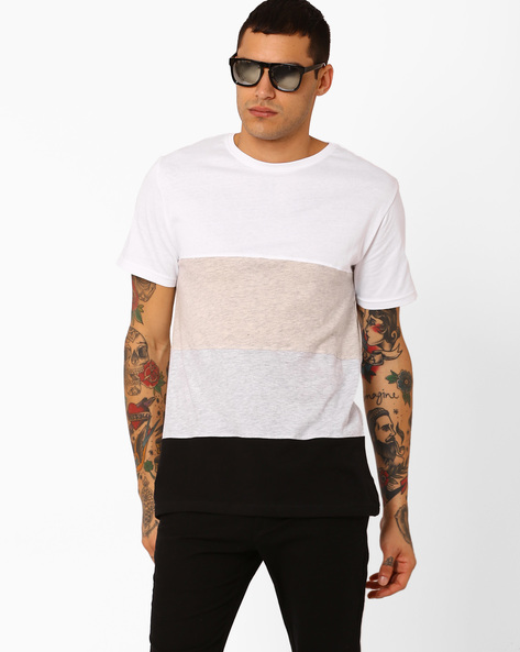 Cut & Sew Colourblock Slim Fit T-shirt By Blue Saint ( Multi )