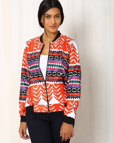Vocal Assertion Printed Casual Bomber Jacket By Sins ( Multi )