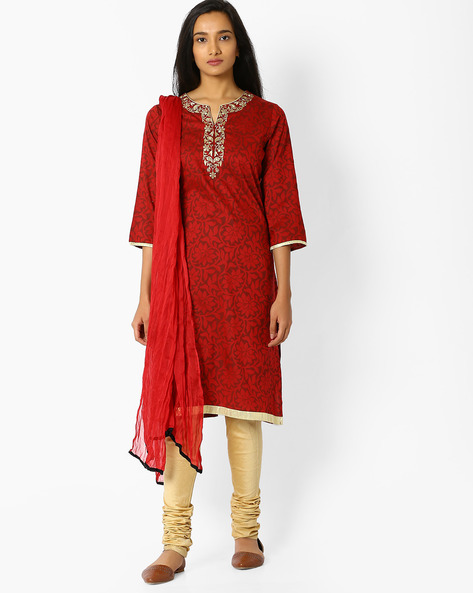 Printed Churidar Kurta With Dupatta By AVAASA SET ( Maroonburg )
