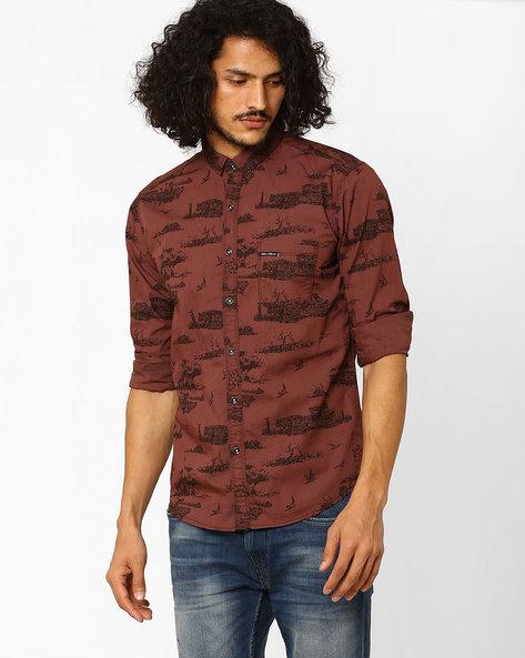 Printed Slim Fit Casual Shirt By SIN ( Maroon )