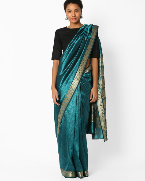 Self-Woven Design Saree By Amori ( Green )