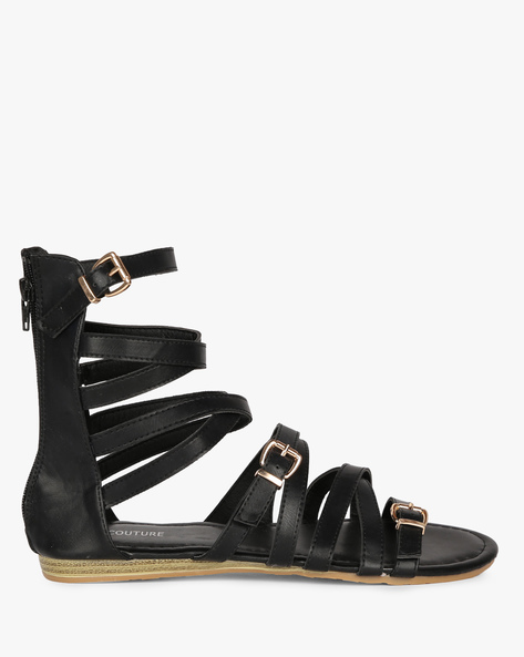 Multi-strap Flat Sandals By MFT Couture ( Black )